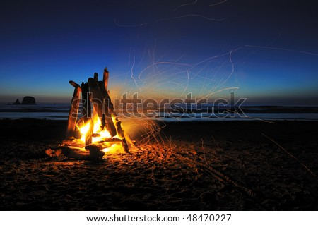campfire on shi shi beach, olympic national park - stock photo