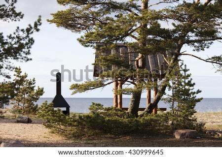 Campfire site at Baltic coast. Photographed at Hiiumaa, Estonia.  - stock photo
