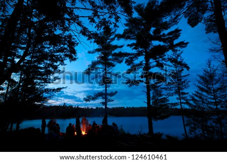 Campfire Summer with Stars - stock photo