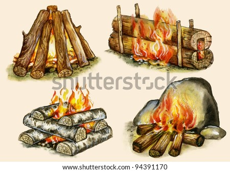 """Campfires set : """"shelter"""",""""block"""", """"well"""", """"warming"""". Images, isolated on buff background. - stock photo"""