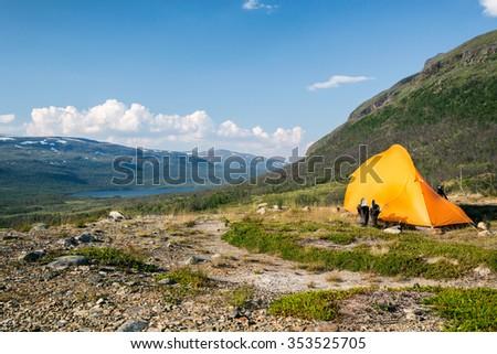 Campground in northern Sweden - Abisko National Park - stock photo