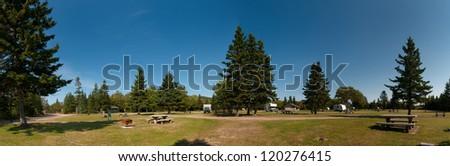 Campground of Cape Breton Highlands National Park, Nova Scotia, Canada - stock photo