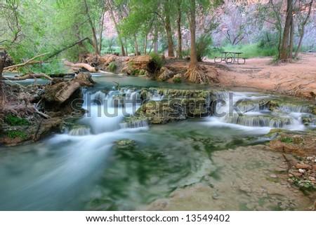 Campgrounds in famous natural landmark Havasupai, the indian reserve. Arizona. USA - stock photo