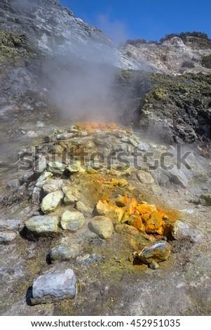 Campi Flegrei Solfatara - Pozzuoli Vulcano crater with sulfur - stock photo