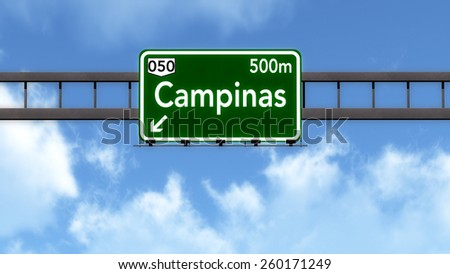 Campinas Brazil Highway Road Sign - stock photo
