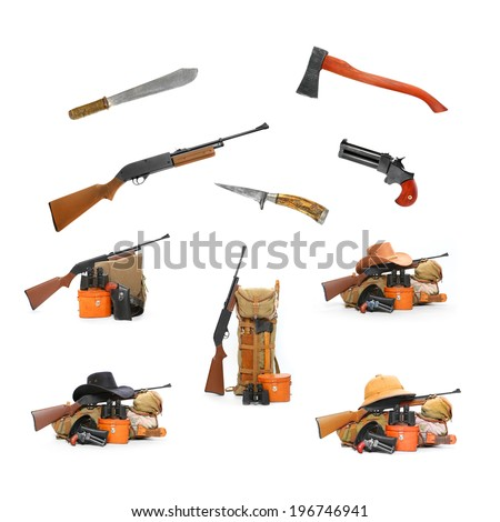 Camping and hunting equipment isolated on a white background.  - stock photo