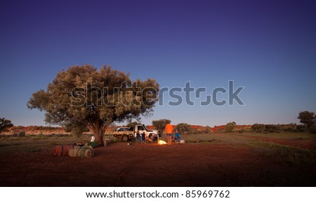 Camping at Boulia, Australia - stock photo