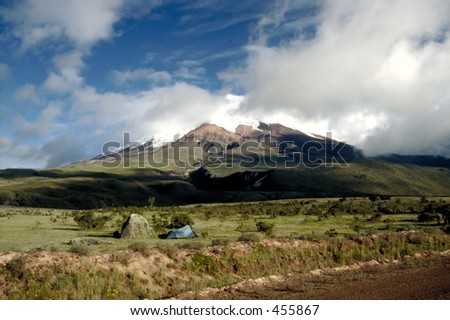 Camping at Cotopaxi - The Highest Active Volcano in the World - stock photo