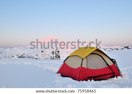 Camping at Huntoon point on Artist Ridge in winter - stock photo