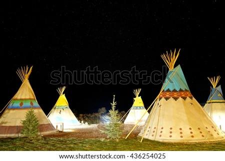 Camping at North American Traditional Teepee at Night.  Capitol Reef National Park, Utah, USA.  - stock photo