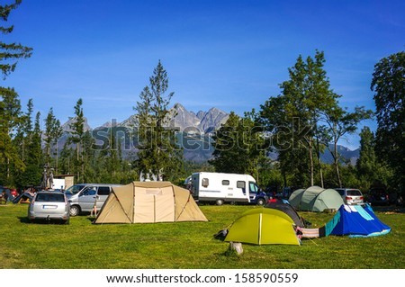 Camping at the foot of High Tatra Mountains, Lomnicky stit, Slovakia