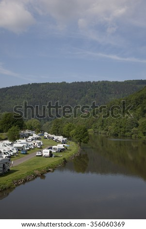 camping at the neckar nearby heidelberg - stock photo
