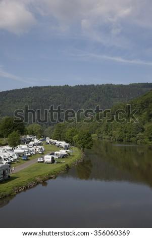 camping at the neckar nearby heidelberg - stock photo