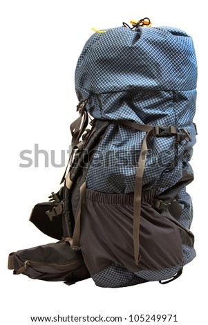 Camping backpack isolated on a white background. - stock photo