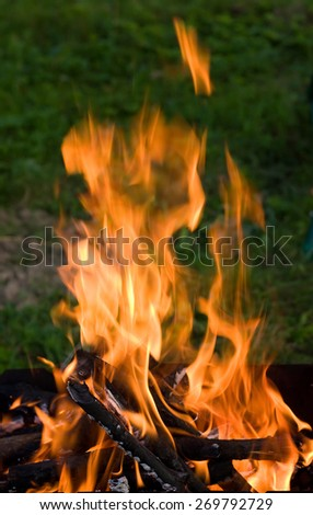 Camping bonfire with flame and firewood in the dark - stock photo