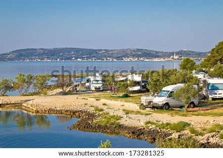 Camping by the sea in Croatia, near Betina, Island of Murter - stock photo