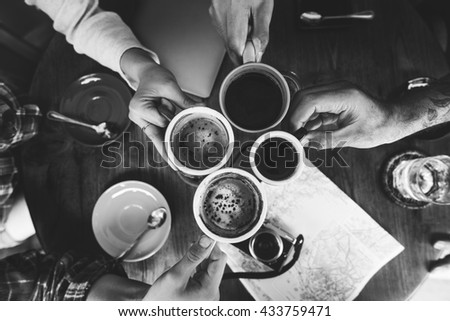 Camping Coffee Break Togetherness Friendship Concept - stock photo