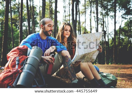 Camping Couple Trek Backpacker Walking Concept - stock photo