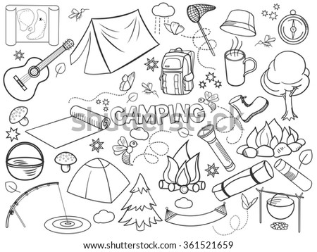 Camping design colorless set raster illustration. Coloring book. Black and white line art