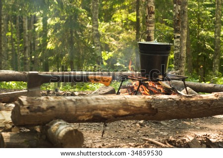Camping fire in the forest - stock photo