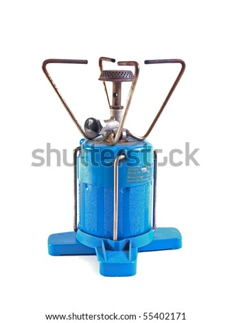 Camping gas cooker on a white background. - stock photo