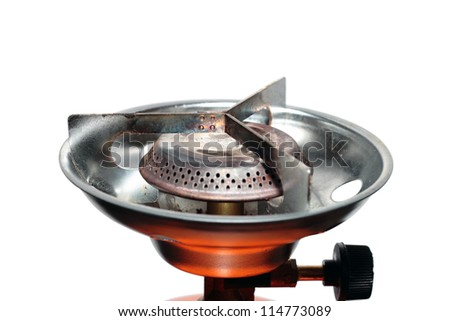 camping gas cooker over white background - stock photo