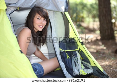 Camping Girl - stock photo