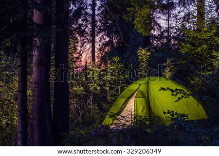 Camping in a Forest. Late Evening on a Camp Site. Green Illuminated Tent Between Spruce Trees. Outdoor Lifestyle. - stock photo