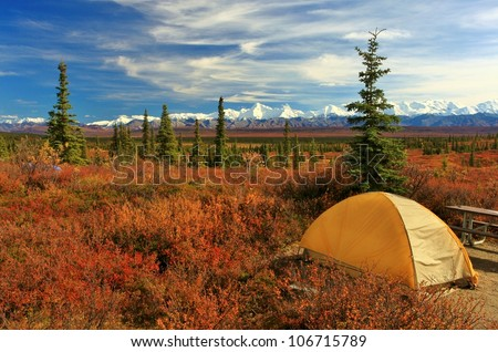 Camping in Denali National park, facing Mt Mckinley - stock photo