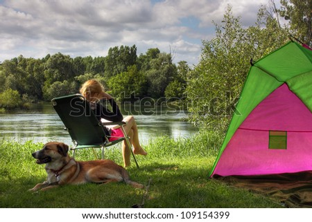 Camping in France - stock photo