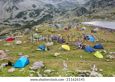Camping in National Park Retezat, Romania, Europe - stock photo
