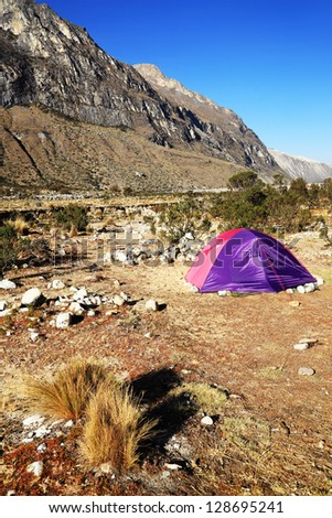 Camping in Paron Valley, Cordiliera Blanca, Peru, South America