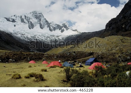 Camping in the Andes - Huaraz, Peru - stock photo