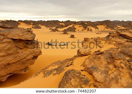 Camping in the Desert - Akakus (Acacus) Mountains, Sahara, Libya - stock photo