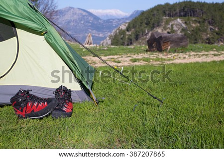 Camping in the middle of the woods, shot from inside the tent. - stock photo