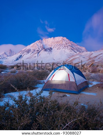 Camping in the Mountains - stock photo