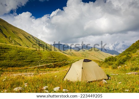 Camping in the wilderness. Caucasus - stock photo