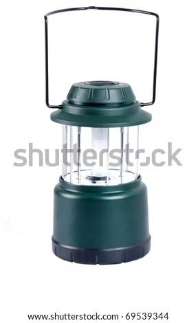 Camping lantern isolated on white - stock photo