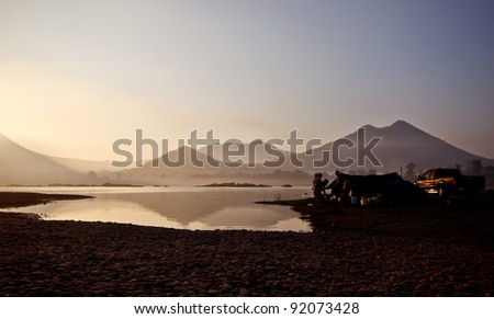 camping near Mae Kong river in the morning time, Thailand - stock photo