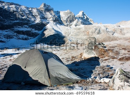 camping on mountain in himalayas - nepal