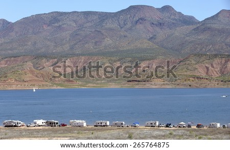 Camping on shores of Roosevelt Lake in Arizona, USA - stock photo