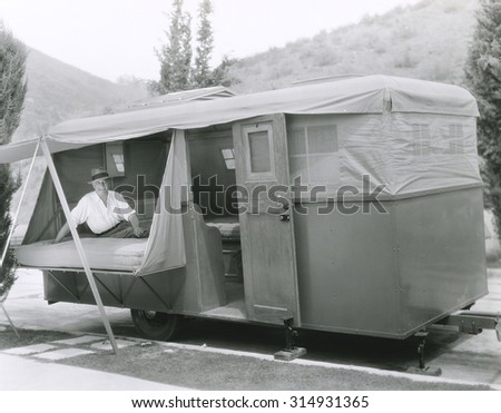 Camping out in trailer - stock photo