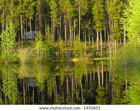 Camping Reflections - stock photo