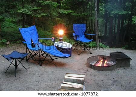 Camping Scene - stock photo