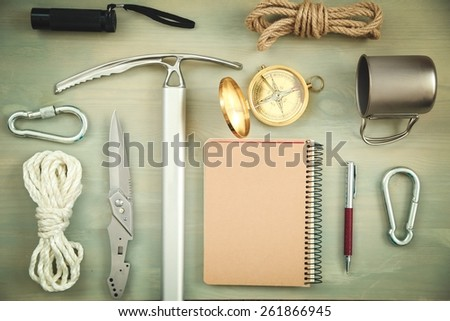 Camping. Scientific expedition and travel background. Overhead view - stock photo