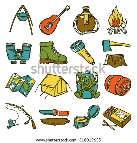 Camping sketch icon set with tent axe compass lantern isolated  illustration - stock photo