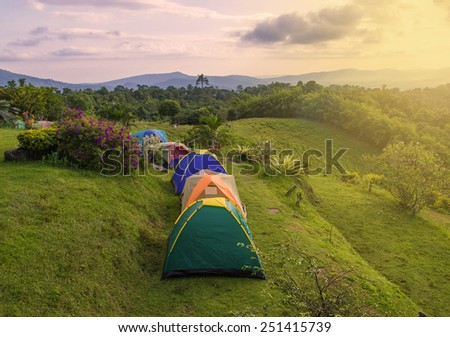 Camping tent in campground at national park. - stock photo