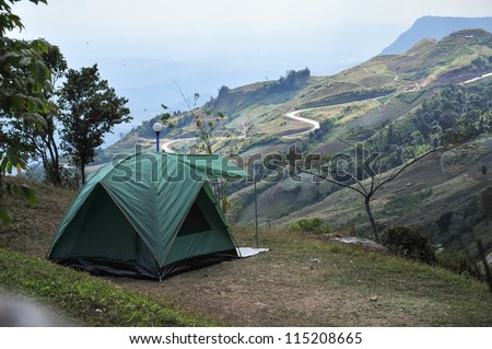 camping tent on hill, phu tub berk Thailand - stock photo