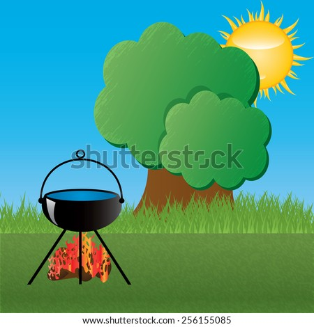 Camping under the blue sky. - stock photo