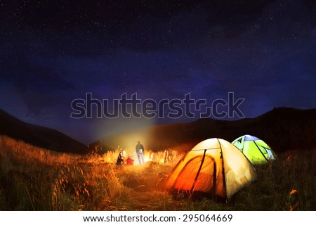 Camping under the stars at night in Carpathian  mountains,Ukraine  - stock photo